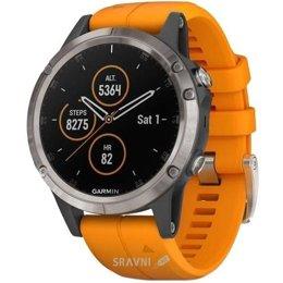Умные часы, браслет спортивный Garmin Fenix 5 Plus Sapphire, Titanium with Solar Flare Orange Band (010-01988-05)